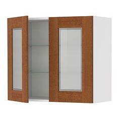 "AKURUM wall cabinet with 2 glass doors, Ädel medium brown, birch Width: 29 7/8 "" Depth: 13 1/8 "" Height: 30 3/8 "" Width: 76 cm Depth: 33 cm Height: 77 cm"