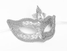 Silver Lace Masquerade Mask Venetian Style Masquerade by SOFFITTA