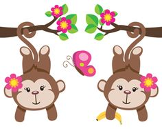 Monkey Wall Border Decals for baby girl nursery or kids room decor #decampstudios