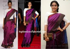 Regina attended the audio launch of Telugu movie 'Power' wearing a Payal Khandwala look from the designer's 2014 Summer/Resort collection.  Instead of wearing the sari like the model, Regina wore her pallu more expanded which in turn hid the contrasting leather belt a wee bit. And even though Payal's runway looks are more on the minimal side, the addition of the hot pink bindi and the floral-detailed clutch here didn't really take away too much from the look.