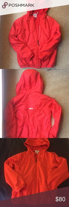 ADIDAS Red Climaproof Zip Up Jacket ADIDAS climaproof jacket is in great condition, perfect for keeping warm after work outs or just running around town. Light enough to layer under a bigger coat if needed, but warm enough on its own as its lined with a plush fabric and hooded. Bright red color, with reflective strips at the shoulder and back, for late night runners and bikers. Very small scuff mark on right sleeve near cuff. Note that this runs small (I am usually an S in jackets). adidas…