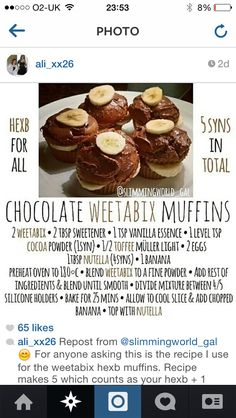 Slimming world weetabix muffins Weetabix Cake Slimming World, Slimming World Deserts, Slimming World Puddings, Slimming World Tips, Slimming World Dinners, Slimming Recipes, Weetabix Muffins, Bran Muffins, Chocolate Muffins