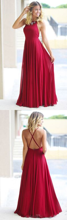 Red Prom Dresses, 2018 Prom Dresses For Teens, Modest Prom Dresses For Girls, Chiffon Prom Dresses A-line, Long Prom Dresses Ruffles #reddress #promdresses #formal #longpromdresses