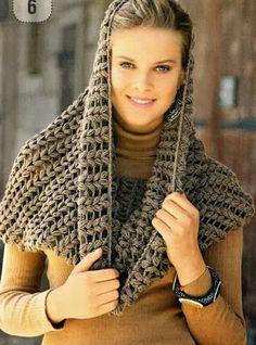 Bufandas circulares a Crochet con patrón.