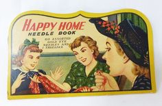 Vintage happy home needle book with needles and threader made in japan