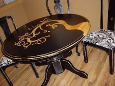 Used oak pedestal tables are so cheap. Turn one into something really fun with sanding, masking tape, paint, and clear coat. Make it really fun, and get the leaf to fit into the design.
