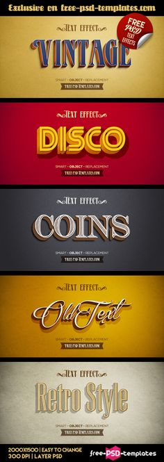 5 Free Retro Vintage Text Effects (120 MB) | free-psd-templates.com | #free #photoshop #file