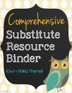 Customizable sub binder with 30+ pages! Developed by a former substitute teacher, you will have EVERYTHING covered for your subs, including where to find bathrooms, what to do if there is inside recess, and more! $