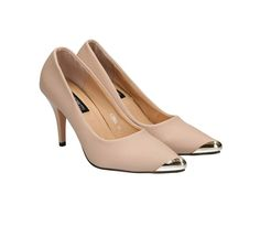 Golden Metallic Canvas Pointed Toe High Heel Shoes