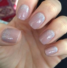 Nude nails with glitter at the bottom