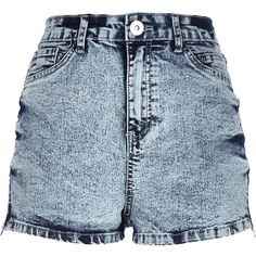 River Island Acid wash high waisted Nori denim shorts ($30) ❤ liked on Polyvore featuring shorts, bottoms, pants, short, shorts/skirts, jeans, sale, women, high waisted shorts and denim short shorts