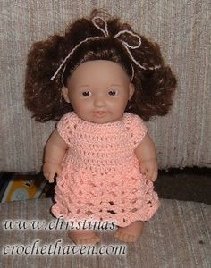 "Peach Delight Baby Doll Dress  10 1/2"" Lots to Love Doll http://christinassunshinehaven.com/doll_clothing/peach_delight_baby_doll_dress.htm"