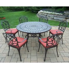 Cushioned Aluminum 7-piece Patio Dining Set includes 54-inch Round Table, 6 Chairs, and Durable Spun Polyester Cushions