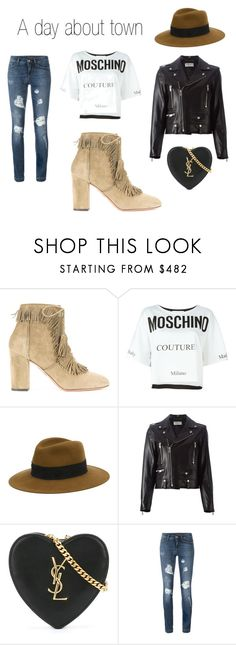 """A day about town"" by farfetch ❤ liked on Polyvore featuring Aquazzura, Moschino, Maison Michel, Yves Saint Laurent and Dolce&Gabbana"