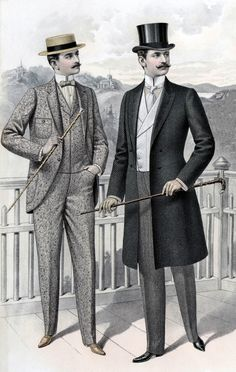 (1890 - 1910)  Full Line of Men's Edwardian Style Clothing.  Everything a gentleman needs, from head to toe.  Hats, coats, shirts, ties, shoes, trousers and beautiful vests.