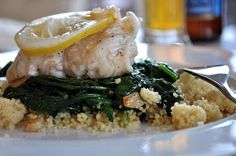 chatN'chow: 30 Minute Lemon Poached Grey Sole with Spinach & Couscous