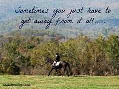 Ever have this feeling?  I do! and I get away from it all on the back of my horse.