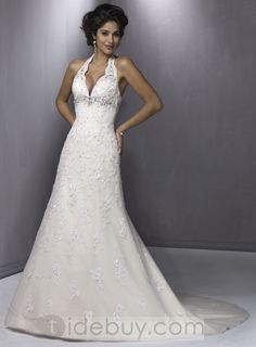 Lace Halter Wedding Dresses V Neck Chapel Train Embroidering