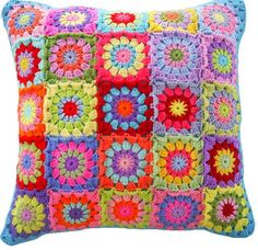 Multicolor crochet cushion cover set for your bedroom, drawing room and living area.