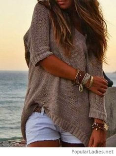 Nude oversize sweater with shorts