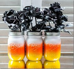 DIY Halloween : DIY Candy Corn Mason Jars DIY Halloween Decor
