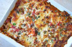 her får du opskriften på en ernæringsforbedret sweet potato lasagne. den er smæk fyldt med smag. velbekomme.