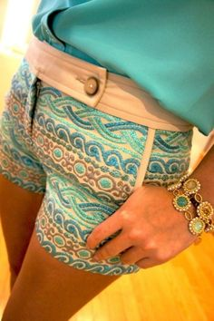 Shorts: boho patterns jewels blue multicolred button bronze stripe striped pattern waves mid waisted