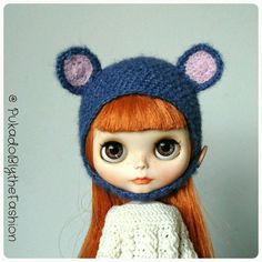 Blythe Fuzzy Bear #Blythe #Fuzzy #Bear #hat #artdoll #pullip #customblythe https://www.etsy.com/listing/266770542/blythe-hat-fuzzy-bear-petrol-ooak