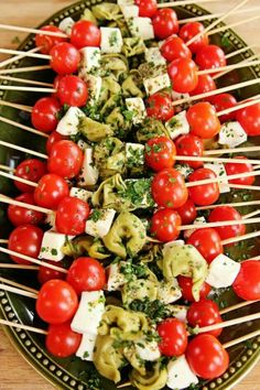 Spinach Tortellini Skewers from the Pioneer Woman, perfect colors for a Christmas party