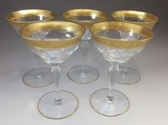5 Antique Tiffin Optic Crystal Gold  Rambler Rose Champagne Sherberts Goblets  #Tiffin