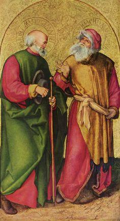Albrecht Dürer. Dreikönigsaltar, linker Flügel, Szene: Josef und Joachim. Um 1504, Holz, 96 × 54 cm. München, Alte Pinakothek. Deutschland. Renaissance. KO 02815