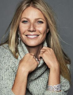 Gwyneth Paltrow wears Cavin Klein sweater with Tous jewelry. Photo: Xavi Gordo