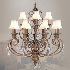 Iron and Crystal Crackled Bronze with Vintage Stone Accents Twelve-Light Chandelier