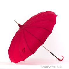 Umbrella ID 711 | Deep Cherry Pink Pagoda | Textured Hook Handle | Bella Umbrella | Vintage Umbrella Rentals