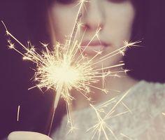 girl, light, and fireworks-bild