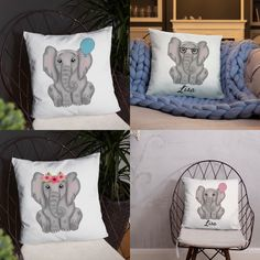 Elephants are so adorable, even more on this soft pillow! Give a baby their favorite animal cushion to snuggle up with when they sleep. Boys or girls can take a nap on the softest elephant ever on their bed, couch or use it as decoration  #elephant #pillow #throwpillow #name #customized #personalized #babyshower #nurserydecor #baby