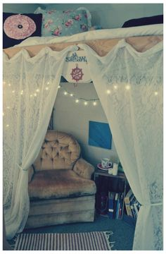 Add curtains or a sheet to your loft bed to create a private space under your bed.