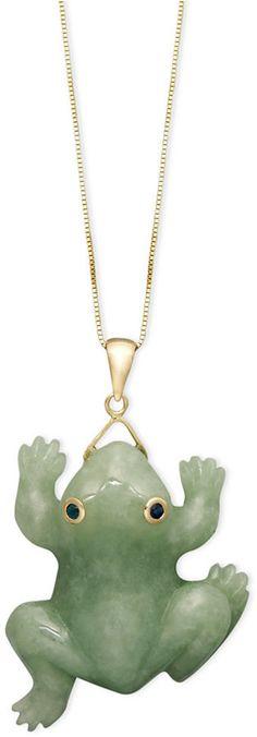 14k Gold Necklace, Jade Carved Frog Pendant
