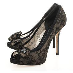 Christian Dior Black Lace Peep Toe Bow Pumps Size 39 via Polyvore