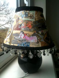 I funked up my 13-year-old daughter's Disney Princess lamp by covering it with quirky decoupage and trim.