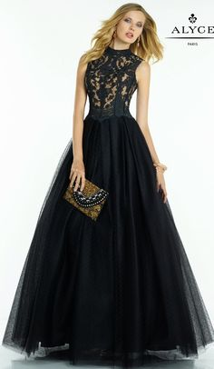 Evening Dresses Prom Dresses by Black Label for Alyce<BR>5756<BR>Halter top ball gown with lace bodice to swiss dot tulle skirt.