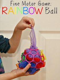 Still Playing School: Fine Motor Rainbow Ball Game