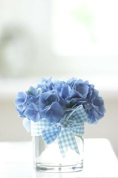 Hydrangea, water glass, and gingham ribbon: simply beautiful
