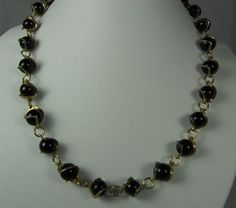 Vintage Caged Black Glass Faux Pearl Necklace by TheFashionDen, $10.00