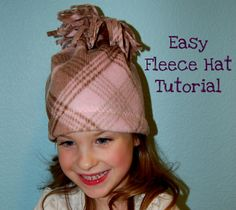 Jamie from Scattered Thoughts of a Crafty Mom shows how to make a cute fleece pom pom hat, quick and easy. Get the tute. [photo from Scattered Thoughts of a … Fleece Crafts, Fleece Projects, Sewing Tutorials, Sewing Projects, Sewing Patterns, Sewing Ideas, Diy Projects, Skirt Patterns, Dress Tutorials
