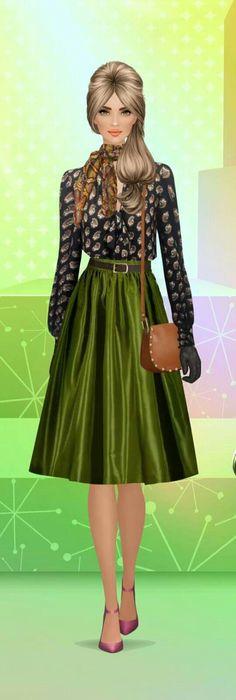 Uma mulher bem vestida e elegante.