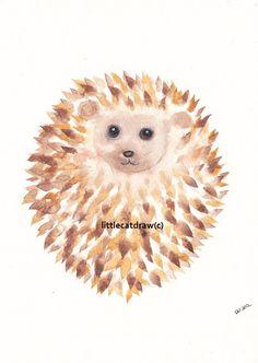 Hedgehog Art Print Watercolor