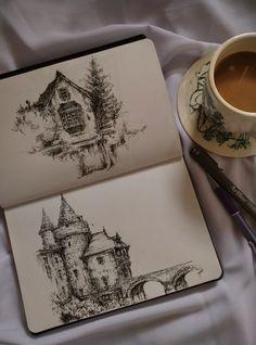 Art Drawings Sketches Simple, Pencil Art Drawings, Sketch Drawing, Architecture Drawing Art, Images Esthétiques, Artist Aesthetic, Art Diary, Arte Sketchbook, Pen Art
