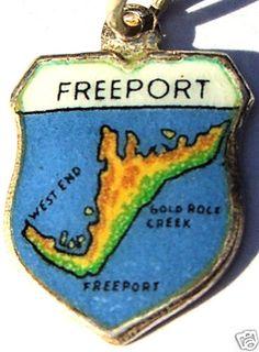 Freeport Bahamas Map Vintage Silver Travel Shield Charm | eBay