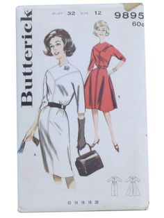 c.1961 -Butterick Pattern No. 9895- Womens sewing pattern for misses welt seamed dress. A. V-yoke dress with high V neck, unmounted three qu...